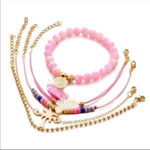 Jewelry - Christmas gift 🎁 5pcs bracelet set gold pink
